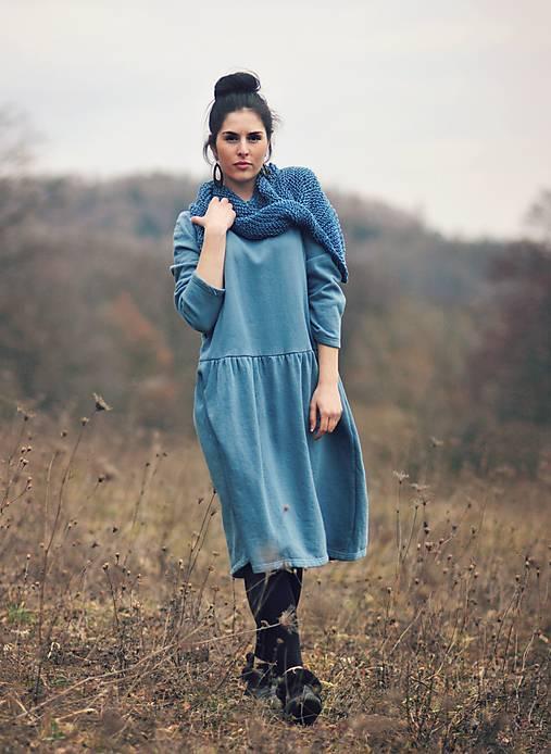 Bavlněné šaty modrozelené