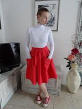 Sukne - Červená ľanová sukňa - 10543132_
