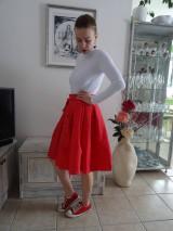 Sukne - Červená ľanová sukňa - 10543133_