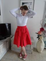 Sukne - Červená ľanová sukňa - 10543136_