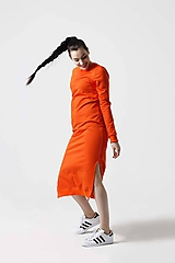 Šaty - Teplákové šaty oranžové  - 10549973_