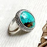 Prstene - Filigree Oval Turquoise Ring / Vintage prsteň s pravým tyrkysom #1477 - 10549800_