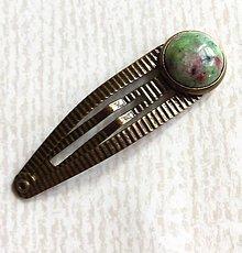 Ozdoby do vlasov - Ruby Zoisite Bronze Hairpin / Sponka do vlasov s rubínom zoisitom /2050 - 10549313_