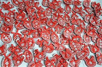 Dekorácie - Červené veľkonočné ozdôbky - 10551051_