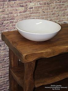 Nábytok - Stolík - skrinka pod umývadlo - NATURAL masív (JASEŇ morený) - 10551848_