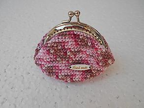 Peňaženky - Háčkovaná ružová mincovka - 10552014_
