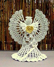 Dekorácie - Háčkovaný anjel vysoký IV - 10549455_