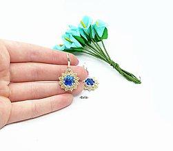 Náušnice - -Eviik- Náušnice so Swarovski kryštálmi strieborná/modrá - 10552472_
