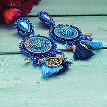 Náušnice - Blue Buddha - sutaškové náušnice - 10552623_