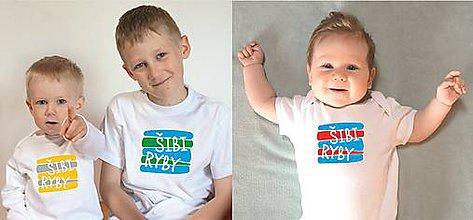 Detské oblečenie - tričko a body šibi - ryby - 10551105_