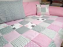 Úžitkový textil - Dievčenský prehoz Ružovo-Sivý - 10549839_