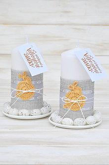 Svietidlá a sviečky - veľkonočná sviečka, pieskový zajko - 10552378_