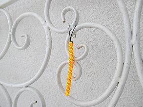 """Kľúčenky - Prívesok """"filofun"""" - pletenie z plastových káblikov (šikmá - ružovožltá FLUO) - 10551821_"""