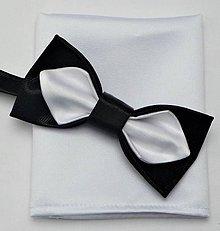 Doplnky - Motýlik a Vreckovka do Saka Set - čierno biely - 10551842_