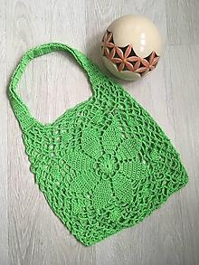Nákupné tašky - Háčkovaná sieťovka (Zelená trávová) - 10551147_