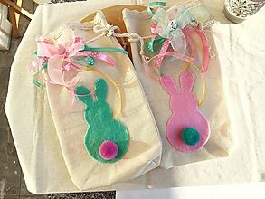 Úžitkový textil - Zajkové Veľkonočné vrecúško (Iba ružove) - 10552392_
