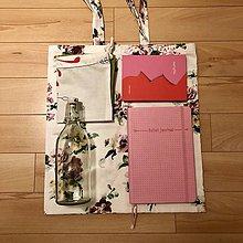 Nákupné tašky - Zero waste taška - malá (Ruže) - 10552782_