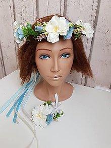 Ozdoby do vlasov - Kvetinový venček s náramkom - 10552453_