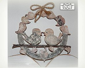 """Dekorácie - Celoročný veniec """"Vintage birds"""" :) - 10552251_"""