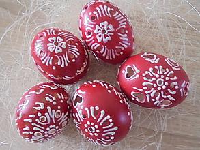 Dekorácie - Červené veľkonočné krasličky - 10551943_