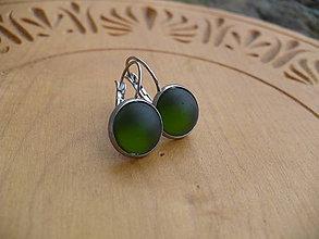 Náušnice - náušnice olivové s mrazivým matným efektom-oceľ - 10549460_