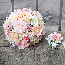 Kytice pre nevestu - Menšia pastelová svadobná kytička - 10555656_