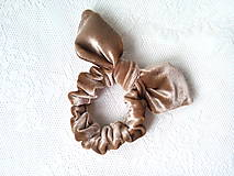 Ozdoby do vlasov - Zamatová gumička do vlasov (zlato-béžová) - 10555936_
