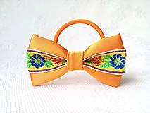 Ozdoby do vlasov - Slovak folklore hair bow (orange/yellow/flowers) - 10555959_