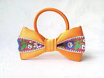 Ozdoby do vlasov - Slovak folklore hair bow (orange/red/flowers) - 10555961_