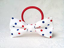 Ozdoby do vlasov - White hair bow with red&blue dots - 10555962_