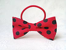 Ozdoby do vlasov - Mini Pin Up hair bow (red/black polka dots) - 10555968_