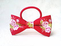 Ozdoby do vlasov - Romantic hair bow (red/flowers) - 10555971_