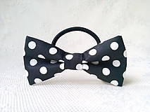Ozdoby do vlasov - Mini Pin Up hair bow (black/white polka dots) - 10555980_