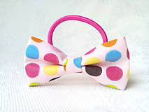 Ozdoby do vlasov - Pink hair bow with cute dots - 10555992_