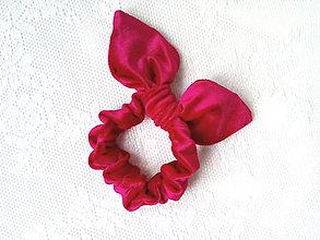 Ozdoby do vlasov - Mini velvet scrunchie (red) - 10555915_
