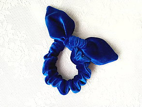 Ozdoby do vlasov - Zamatová gumička do vlasov (kráľovská-modrá) - 10555945_
