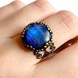 Prstene - Blue Labradorite Ring (Bronze) / Prsteň s modrým labradoritom v bronzovom prevedení #1488 - 10554037_