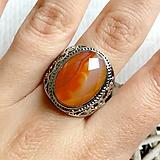 Prstene - Orange Agate Antique Silver Ring / Starostrieborný prsteň s oranžovým achátom /2052 - 10554321_