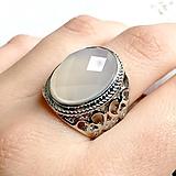 Prstene - Grey Agate Antique Silver Ring / Starostrieborný prsteň so šedým achátom /2052 - 10554377_