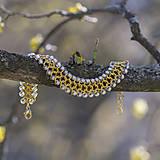 Náramky - Náramek Spříznění - zlatá s bílou - 10555932_