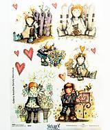 Papier - Ryžový papier na decoupage -A4-R079- dievčatko, srdce - 10553652_