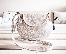 Kabelky - Malá režná kabelka - biele mandaly - 10553605_