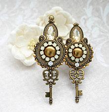 Náušnice - Kľúč k tvojmu ušku :-) /šujtášové vintage náušnice/ - 10554980_