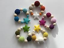 Hračky - Melírové hryzátko Star / Crochet highlights teether Star (Modrá) - 10555373_