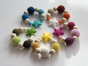 Hračky - Melírové hryzátko Star / Crochet highlights teether Star - 10555374_