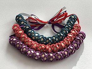Náhrdelníky - Háčkovaný náhrdelník na dojčenie/ Crochet Nursing Necklace (Fialová) - 10555410_
