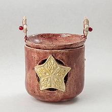 Svietidlá a sviečky - Dva svietniky a aromalampa s hviezdou v jednom. Výška 11 cm - 10555816_