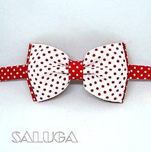 Doplnky - Retro červený motýlik na biele bodky - 10555723_