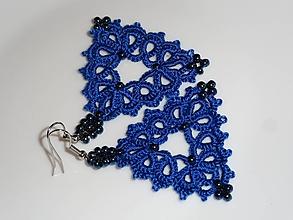Náušnice - Frivolitkové náušnice- Modré trojuholníky - 10552818_