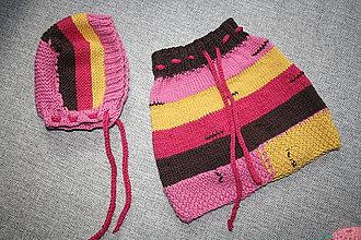 Detské oblečenie - Pletená suknička s čiapočkou - 10554214_